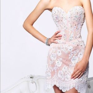 Sherri Hill Corset White & Nude Dress